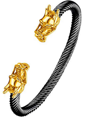 Ostan Men's Double Head Dragon Bracelet Adjustable Stainless Steel Sliver Cuff Cool Polished