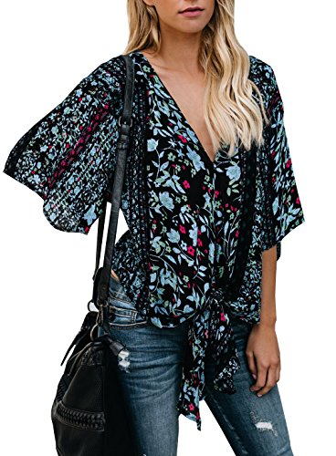 V-neck Kimono Top - Gemijack Womens Floral Blouses Chiffon Summer Short Sleeve Deep V Neck Tie Front Tops Shirts