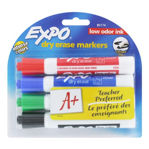 Expo 2 Low-Odor Dry Erase Markers Chisel Tip 4-Pack Assorted Colors