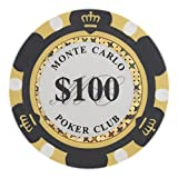 Brybelly Monte Carlo Premium Poker Chip Heavyweight 14-gram Clay Composite - Pack of 50 ($100 Black)