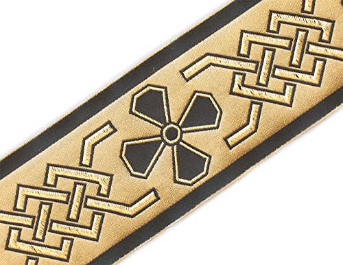 Very Wide, Jacquard, Vestment Trim. Celtic. Gold, Black. 3¾