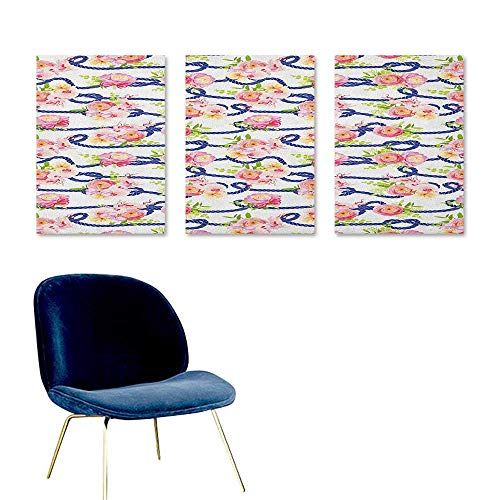 - Agoza Navy and Blush Custom Oil Painting Twisted Blue Marine Rope and Bouquets of Spring Roses and Orchid Easy Care Oil Painting 3 Panels 16x24inch Navy Blue Pink Green
