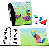 Tangram Game Travel games 176 Magnetic Puzzle and Questions Build Animals People Objects with 7 Simple Magnetic Colorful Shapes Kid Adult Challenge IQ Educational Book【2 set of Tangrams】