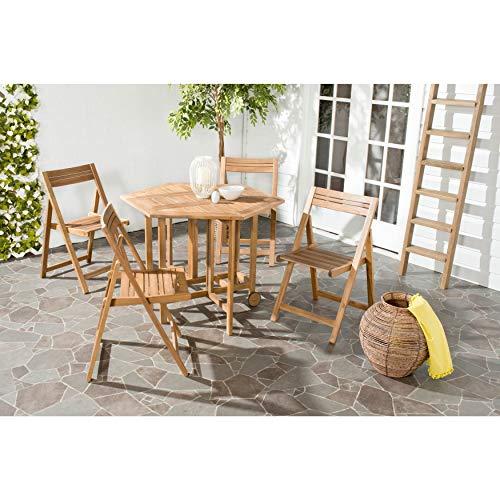 Safavieh Outdoor Living Collection Kerman 5-Piece Dining Set, Teak Brown ()