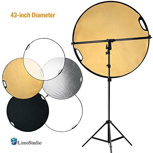 (LimoStudio Swivel Head Reflector Support Holder Arm, Boom Stand Arm Bar, Light Stand Tripod with 43 Inch Diameter 5 Color in 1 Round Collapsible Reflector Disc Panel, Hand Held, AGG2087V2)