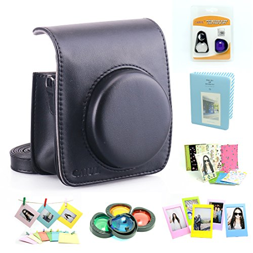 CAIUL Compatible Mini 90 Camera Case Accessories Bundle Kit for Fujifilm Instax Mini 90, Black (7 Items)