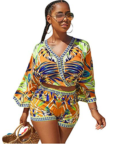 Womens Rompers and Jumpsuits Shorts Summer Beach Two Pieces Outfits Floral Print Crop Tops Shorts Set Boho Playsuit Yellow L