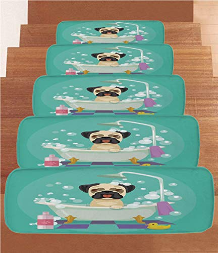 iPrint Non-Slip Carpets Stair Treads,Nursery,Pug Dog in Bathtub Grooming Salon Service Shampoo Rubber Duck Pets in Cartoon Style Image,Teal,(Set of 5) 8.6