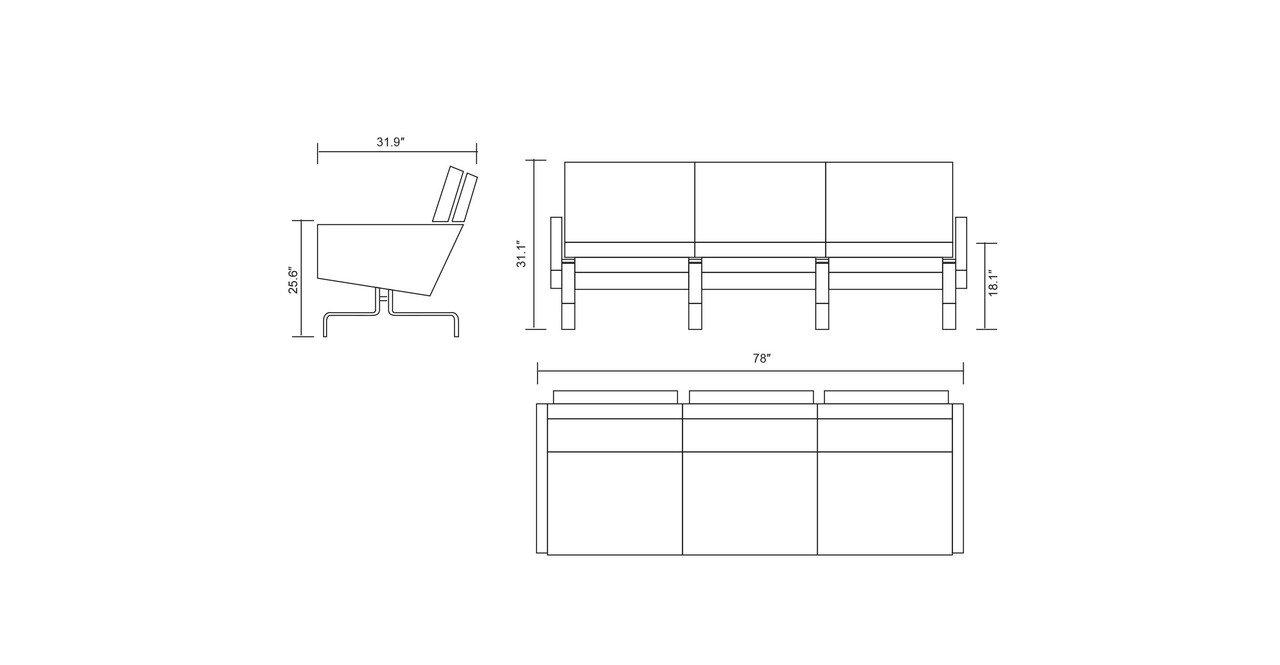 Kardiel PK31 Style Modern 3 Seat Sofa, Coco Brown Aniline Premium Leather