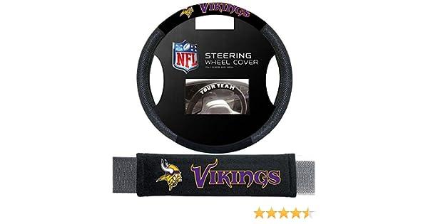Black FANMATS 21559  NFL Minnesota Vikings Embroidered Steering Wheel Cover Universal 15 Diameter