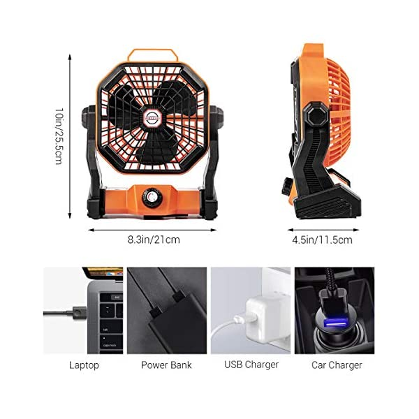51sqiWGqQXL Camping Ventilator Lureshine Tischventilator mit Led Licht Batterie USB Ventilator Leise Turbo ventilator Campinglüfter…