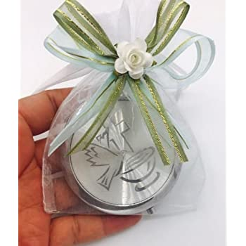 Bautizo Recuerdos. My Baptism Holy Spirit Silver Plate Mirror memories Party Favor Set (12)