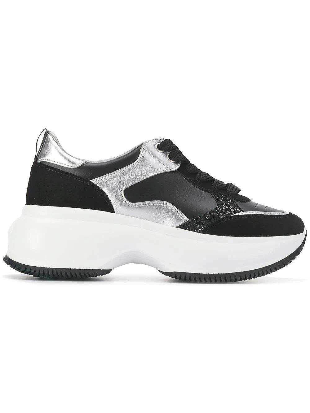 - Hogan Women's HXW4350BN50KOZ0353 Black Leather Sneakers