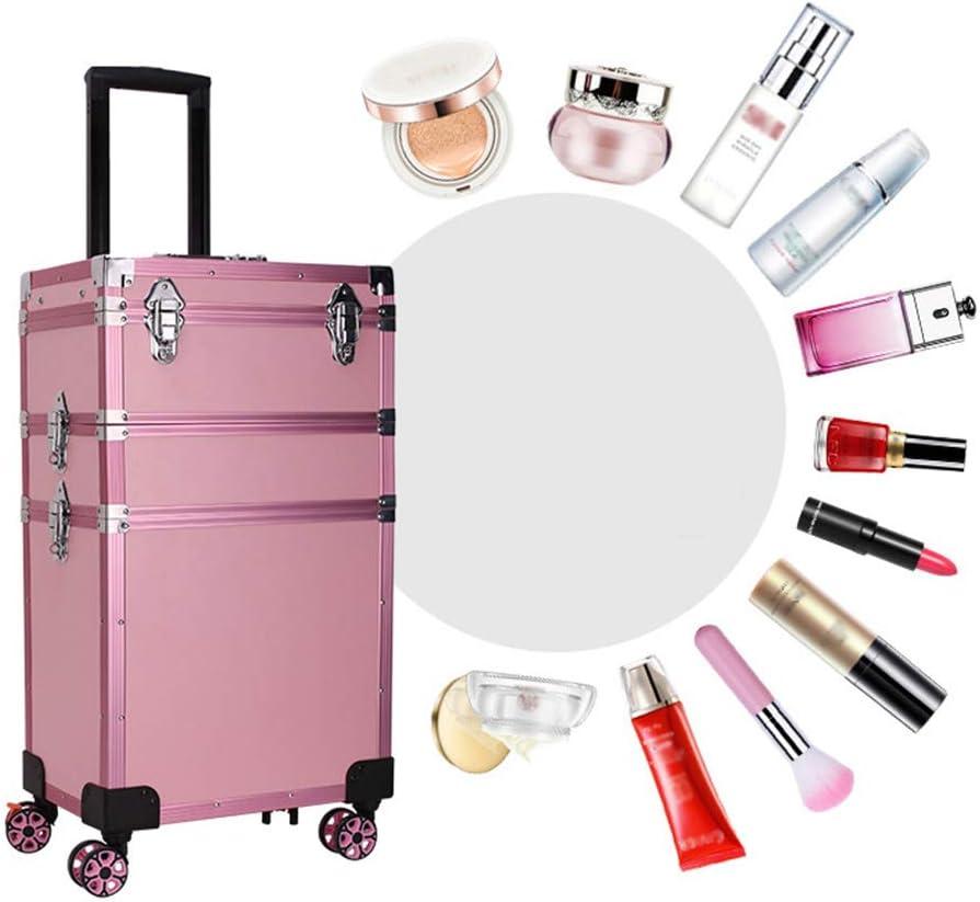 Z-Case@ 3 en 1 Maleta de Aluminio con Ruedas para Maquillaje, Organizador de Trenes de Artista, Caja con manija de Bloqueo, Kit de Herramientas de Almacenamiento de Belleza Grande Rosa Rosa
