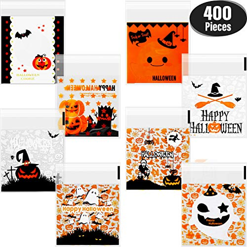 Cute Homemade Halloween Candy Bags (400 Pieces Self Adhesive Candy Bag Halloween Clear Cookie Bags Cellophane Treat Bags for Homemade Craft, Halloween Party)