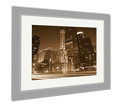 Ashley Framed Prints Chicago Water Tower, Wall Art Home Decoration, Sepia, 30x35 (frame size), Silver Frame, - Water Chicago Place Tower