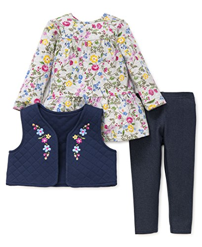 Little Me Baby Girls' 3 Piece Vest Shirt and Pants Set,
