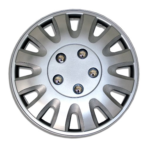 TuningPros WSC-738S15 Hubcaps Wheel Skin Cover 15-Inches Silver Set of ()