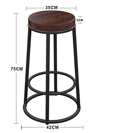 Amazon.com: BDLYZ Yxsd Wrought Iron Solid Wood Bar Stool ...