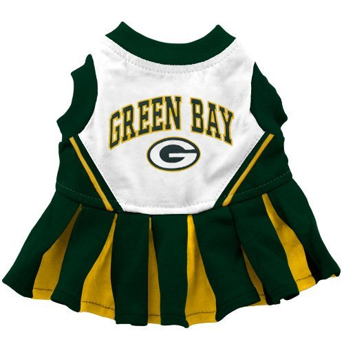 Pets First GBPCLO-M Green Bay Packers NFL Dog Cheerleader Outfit - Medium