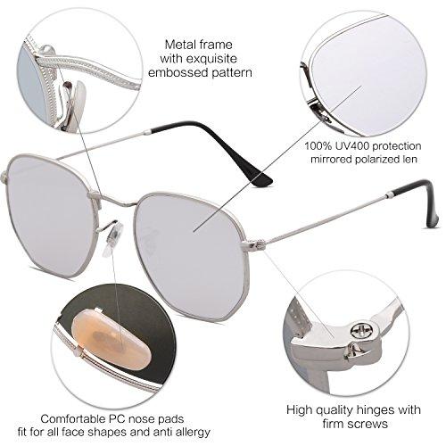 Gafas Unisex Clásico Lente SJ1072 SOJOS Polarizado Espejo Plateado C5 Portección Plateado Polígono de Sol Polarizado UV Marco Lentes 1p0qBpw