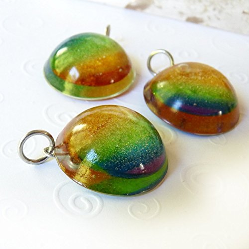 - Sunset Rainbow Gem Pendant - Rainbow Dome Handmade Pendant, Chakra, Pride, Jewelry, Necklace - Unique Gift for Women, Men, Teens, Student - Clear Resin with Encased Sunset Art, Artisan, OOAK - 1