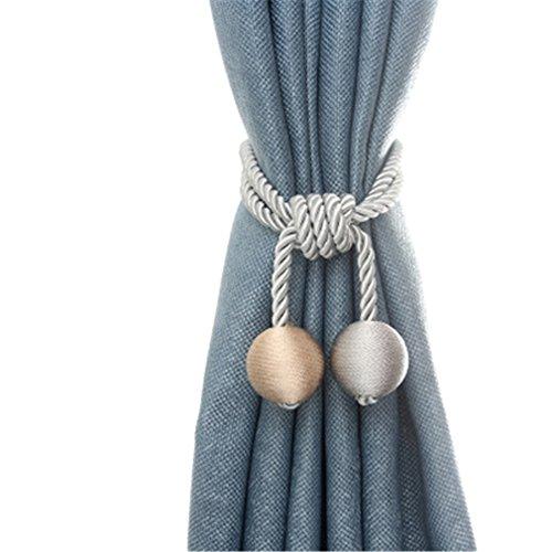 - Turbokey Gray Curtain Tiebacks 2pcs Hand Knitting Cord Rope Buckle Window Holdbacks for Bedroom, Rural Rope Cord Bandages - Gray