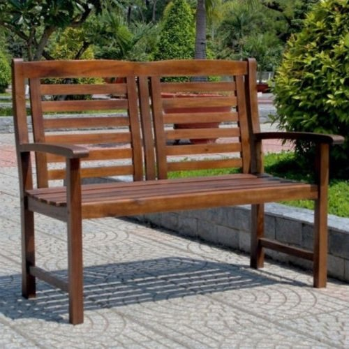 NEW International Caravan Highland Acacia Trinidad 2-Seater Patio Garden Bench (Seater Garden Bench Metal 3)