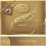 Lindt Lindor Prestige Assorted Chocolates (Milk, Dark, Hazelnut and White), Gift Box, 250g