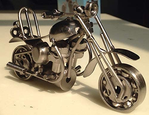 M36C Metal Grey Fancinate 6 Retro Handmade Nuts and Bolts Iron Motorcycle Scale Model Scrap Metal Collectible Art Sculpture Ornament Motorbike Home Decor Decoration Vintage Gifts