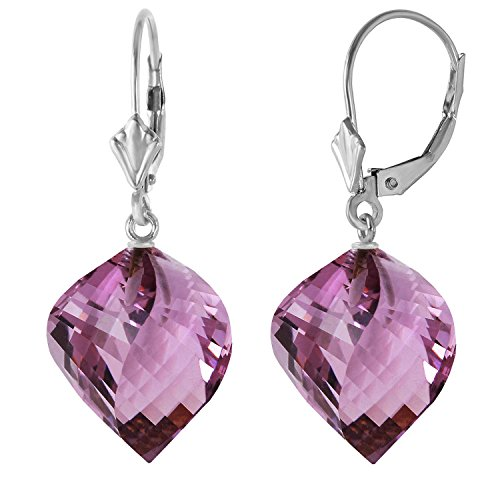 21.5 CTW 14k Solid White Gold Leverback Earrings Twisted Briolette Amethyst
