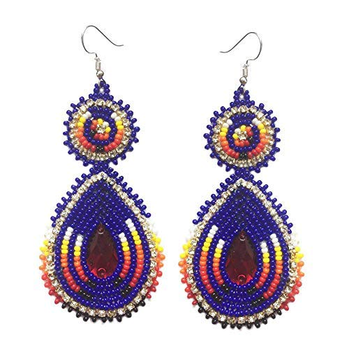 - Handmade Glass Seed Beaded Teardrop Earrings (Dark Blue)