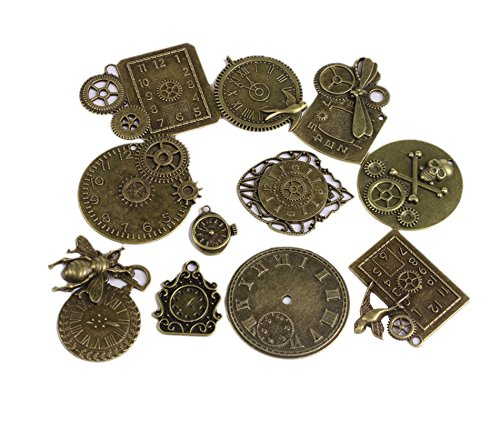 BIHRTC Pack of 11 Antique DIY Steampunk Clock Face Wheel Gear Skull Charms Pendant for Crafting, Bracelet Necklace Jewelry Making Accessory