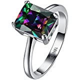 LWLH Womens Platinum Plated Square Princess Cut Mystic Rainbow Topaz Solitaire CZ Engagement Wedding Ring