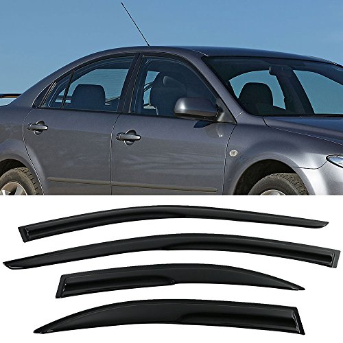 Window Visors Fits 2003-2008 Mazda 6 | Sedan Smoked Aero JDM Wind Deflectors Stick On by IKON MOTORSPORTS | 2004 2005 2006 (Mazda 6 Sports Sedan)