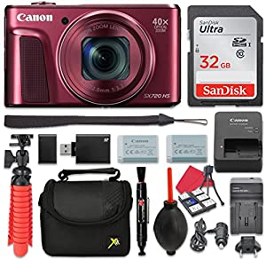 Canon PowerShot SX720 (Red) HS Digital Camera 40x Zoom + 32GB SD + Spare Battery + Complete Accessory Bundle