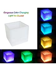 Decdeal 3.5L High Capacity LED Light Lamp ICE Bucket Square Design Automatic Color Changing Battery Powered Operated IP65 Water Resistance for Home Party Bar Club