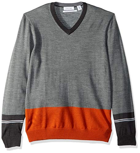 Calvin V-neck Sweater - Calvin Klein Men's Merino Sweater V-Neck Stripes, Granita Combo, Medium