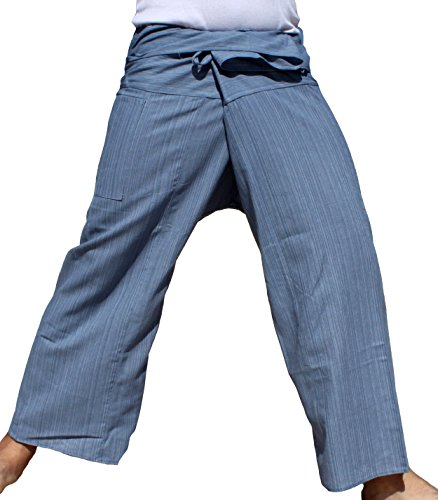 RaanPahMuang Brand Light Striped Cotton Tall Thai Fisherman Wrap Pants
