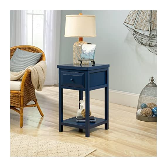 Sauder Cottage Road Side Table, Indigo Blue finish - Drawer features metal runners and safety stops Open shelf for additional storage Indigo Blue finish - nightstands, bedroom-furniture, bedroom - 51sqkzmXfKL. SS570  -