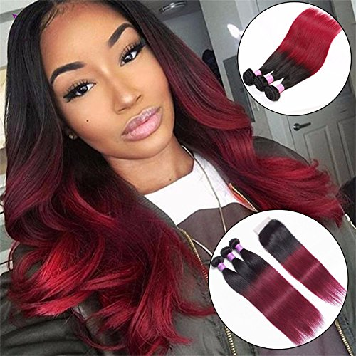 Zhuoqi Hair 8A Brazilian Virgin Hair Straight 3 Bundles with Closure 1B 99J Dark Red Ombre 1b/burgundy Human Hair Bundles Double Weft Hair Weave (16 18 20 with 16, - Co West Mall Hours