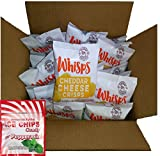 28-Pack Cello Whisps Cheese Crisps Single Serve Bags (.63 oz) & Ice Chips Peppermint (1 oz) Bundle (Cheddar) For Sale