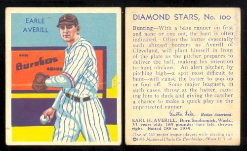 (1934 Diamond Stars Regular (Baseball) Card# 100 earle averill of the Cleveland Indians Ex Condition)