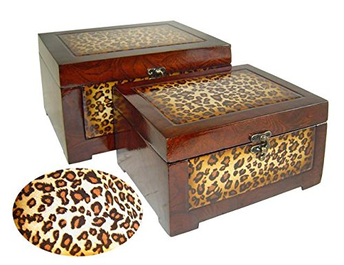 Rattan Treasure Chest (Cheung's FP-2624A-2 Wooden Box with Leopard| Set of 2)