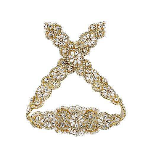 (Gold Rhinestone crystal applique for wedding dress Beaded Rhinestone Belts Bridal applique)