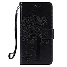 Wallet Case Sony Xperia XA with Card Slot and Magnetic Snap Closure, MAOOY Bookstyle Folio Cover in Elegant Tree and Cat Design Full Body Wrap Protective Ultra Fine Fit for Sony Xperia XA, Black#