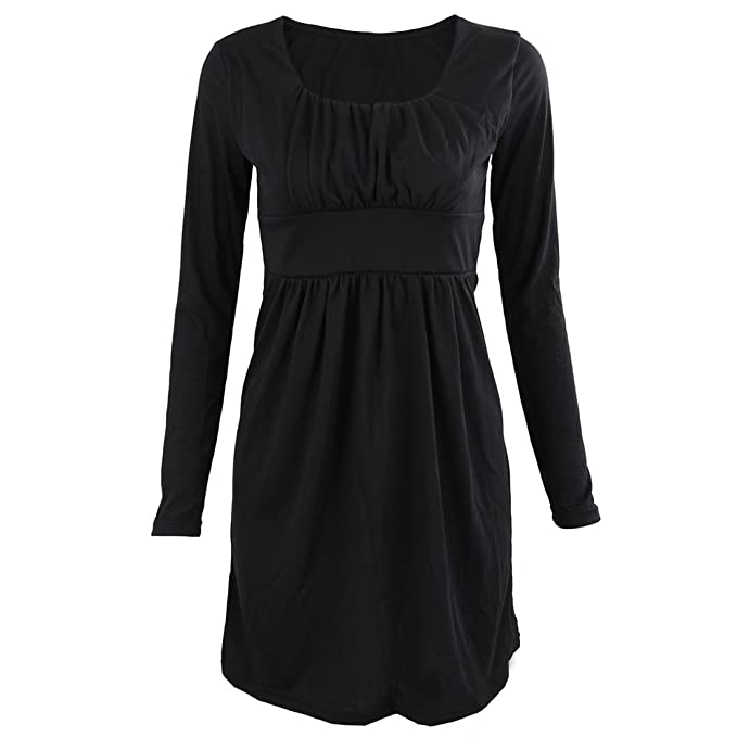 SODIAL(R) Vestido informal de otono de moda nueva Vestidos de fiesta de manga larga Vestido sexy Negro S: Amazon.es: Ropa y accesorios