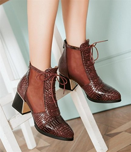 HETAO Personality Elegant Work Shoes Office Boots Brown Ladies Heels High Shoes Womens Temperament Chelsea Heeled qqrd70