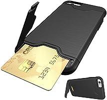 0a442c8eae iphone6ケース 背面 カード収納 スタンド 機能 アイフォン6ケース 耐衝撃 シリコン ケース カバー iphone6s(アイフォン6s) 対応  ブラック