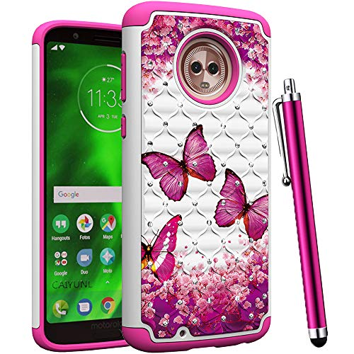 CAIYUNL for Moto G6 Case for Women Girls Bling Studded Rhinestone Dual Layer Hybrid Protective Shockproof Armor Heavy Duty Hard Plastic & TPU Cover for Motorola Moto G6 Case 2018 -Hot Pink Butterfly]()